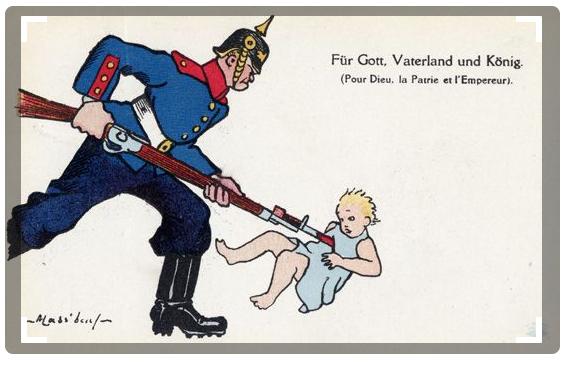 Anti-German propaganda showing soldier bayonneting infant